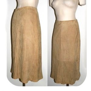 Margaret O'Leary Tan KID SUEDE Midi Skirt LUXE!  S